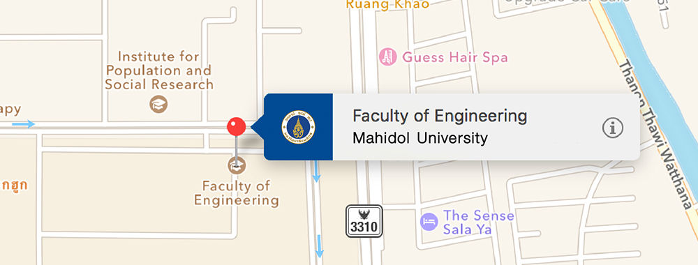 Faculty of Engineering, Mahidol University. Map
